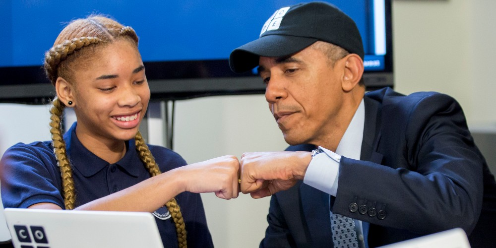 President Obama Meets With Students Participating In An Hour Of Code Event