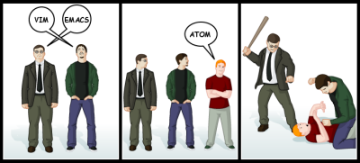 """A cartoon showing two men who are arguing about Vim versus Emacs. A third person shows up and proclaims """"Atom"""". They then beat the man."""